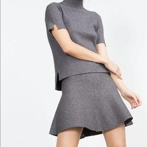 ZARA - NWT Knit Skater Skirt - Grey